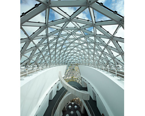 The atrium's roof skylight over the stair is 75.5 ft high.
