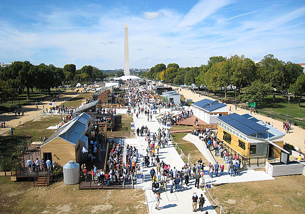 This photo shows 20 solar-powered houses displayed on the National Mall for Solar Decathlon 2009.
