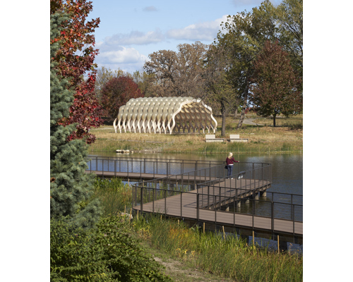 Lightweight pavilion is a focal point for the 20-acre Lincoln Park Zoo South Pond habitat restoration.