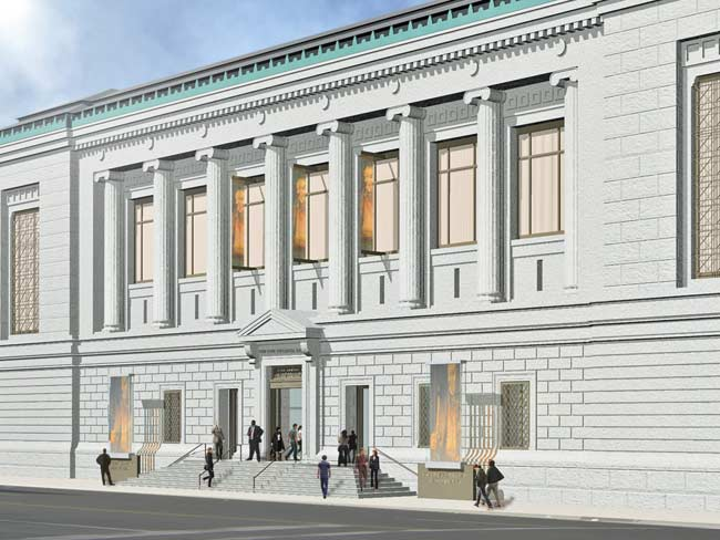 The Historical Society's Central Park West entrance will feature a grander staircase. The architects also removed two windows flanking the main entrance and replaced them with doors.