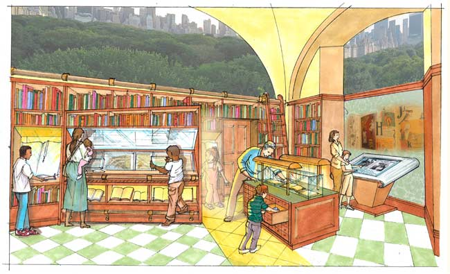 The Barbara K. Lipman Children's History Library, in the Children's Museum space, will include rare books, manuscripts, and maps from the Historical Society's collection.
