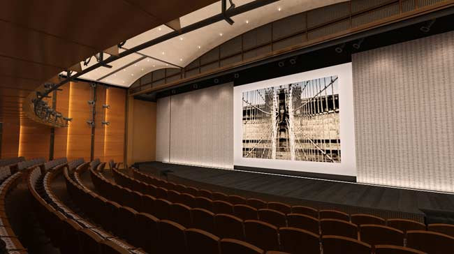 The renovated wood and bronze Robert H. Smith Auditorium seats approximately 425 and features state of the art acoustical and lighting systems.