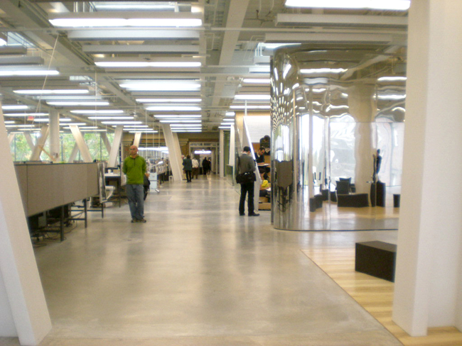 The second floor provides one interrupted space for design studios.