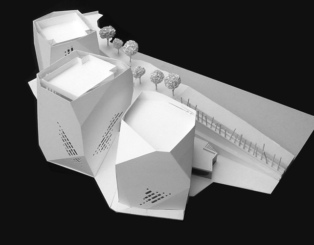 Presentation model in white cardboard of Parque Biblioteca Espa'a.