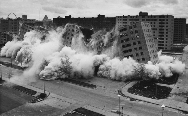 The first Pruitt-Igoe building to be demolished was imploded in 1972.