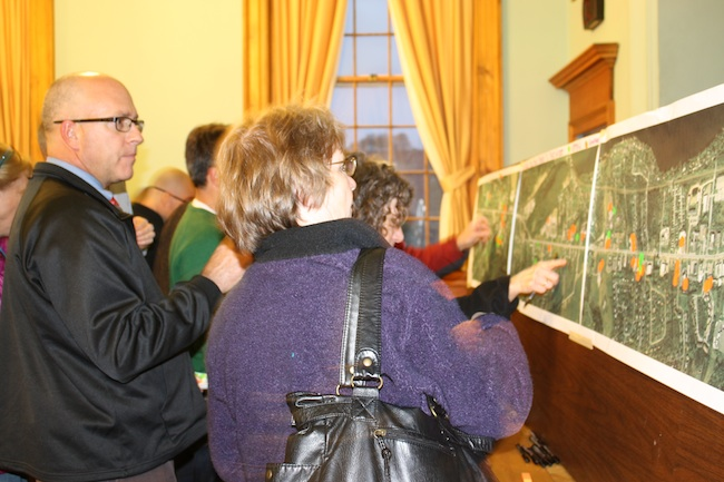 Community members participate in an exercise to show their treasured places during the Shelburne SDAT.