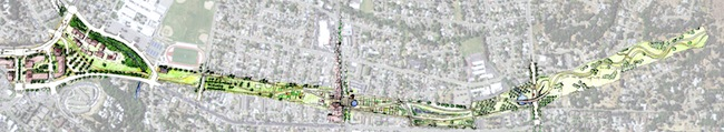 A plan for the proposed Santa Rosa Greenway.
