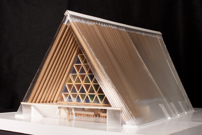 A concept model of Ban's scheme for the Cardboard Cathedral.