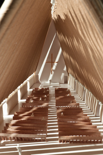 Interior of Ban's scheme for the Cardboard Cathedral.
