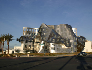 Anyone who wants to draw a line between 'real' and 'fake' architecture has to look a few hundred yards south to the Lou Ruvo Center for Brain Health. Ruvo cloaks a rather ordinary medical clinic in a riot of curving, angled stainless steel panels—a Frank Gehry-designed fillip that helped attract donors and media attention, but added nothing to the building's functionality.