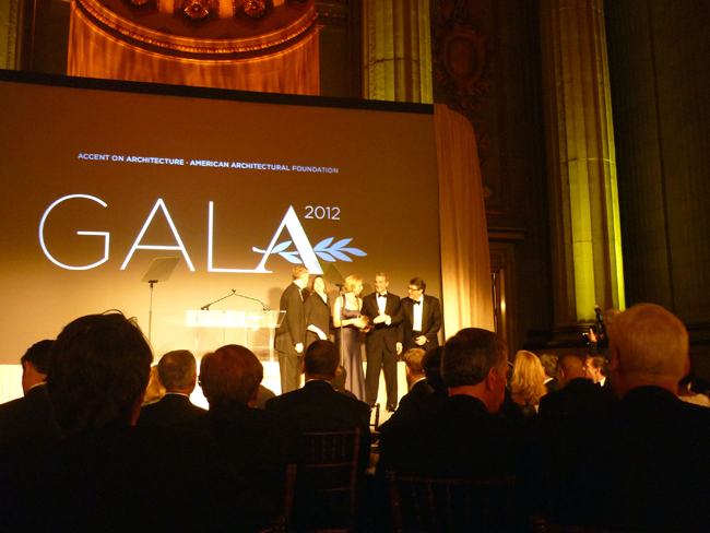A delegation from Haworth accepts <em>Architectural Record</em>'s Good Design is Good Business Lifetime Achievement Award for design patronage.