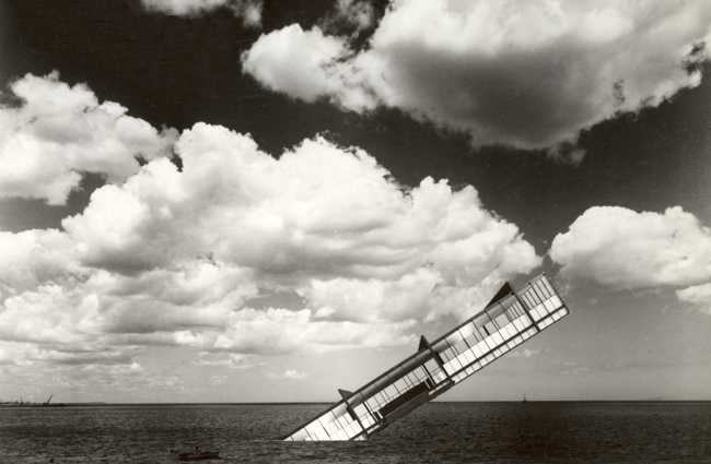 <em>The Titanic</em> (1978), photomontage on paper, depicting Mies&rsquo;s Crown Hall sinking into (or perhaps rising up from) Lake Michigan.