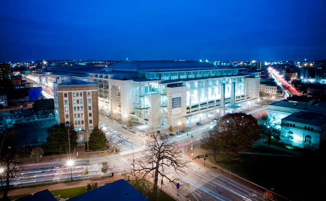 The 2012 AIA convention will be held at the Walter E. Washington Convention Center in Washington, D.C.  The building, completed in 2003, was designed by Thompson, Ventulett, Stainback & Associates (TV