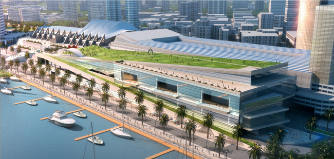 The plan calls for increasing exhibition and meeting space and adding a 5-acre waterfront park.