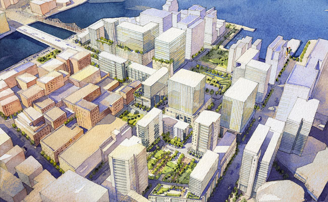 Encompassing 23 acres, Seaport Square will include office, hotel, and residential space expected to total some 3.5 million square feet. In January, the Boston Redevelopment Authority gave the develope