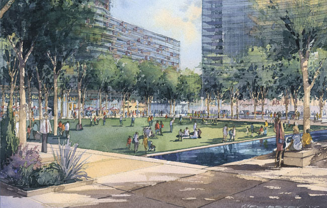 The district will feature a new green plaza&#8212;the namesake square&#8212;designed by Reed Hilderbrand, the Boston landscape architecture firm.<!-- Photo Credit -->