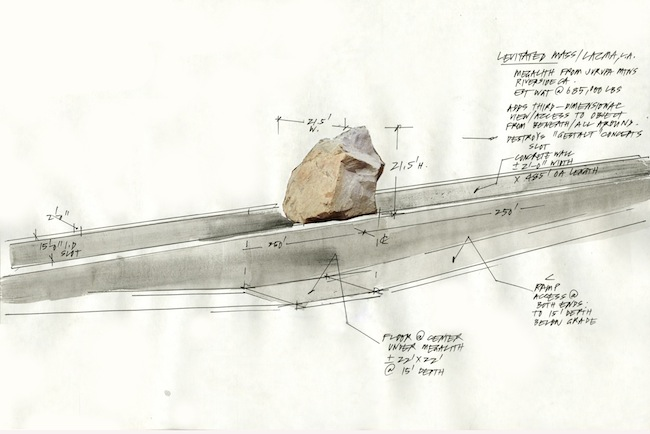 <p>Michael Heizer, Preliminary sketch for <em>Levitated Mass</em>, 2011</p>