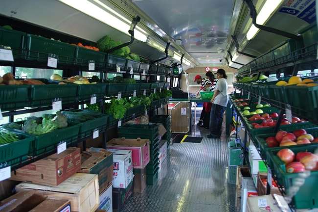 <em>Fresh Moves Mobile Market</em> is a one-aisle grocery store built in a  retrofitted Chicago Transit Authority bus purchased for $1. Architecture  for Humanity partnered with the Chicago nonprofit