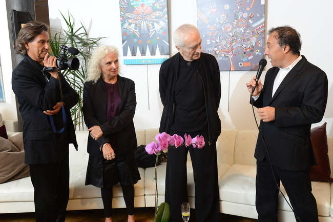 Roberto Guerra and Kathy Brew, directors of 'Design Is One: Lella and Massimo Vignelli,' with Massimo Vignelli and Architecture and Architecture & Design Film Festival founder Kyle Bergman at the