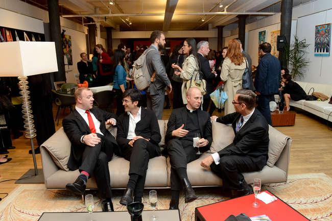 The crowd at the Archtober reception at the Poltrona Frau showroom in New York.