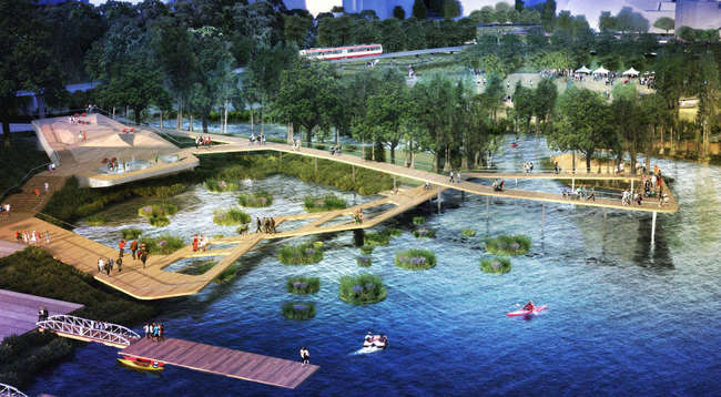 <p>Waller Creek Design Competition, CMG and Public Architecture</p>