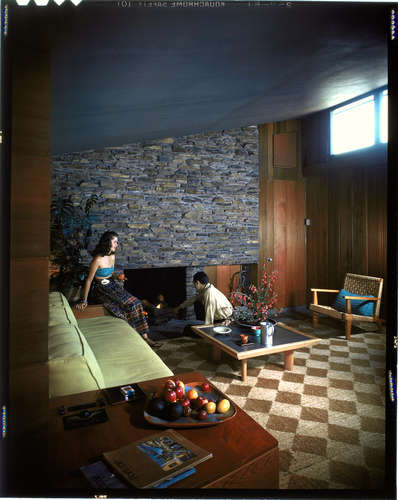 The living room in the in Flintridge, California, home that architect George Turner designed for himself, c. 1947