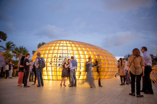 An egg-shaped beach bar pavilion by Los Carpinteros may have been the most popular art intervention at this year's the Art Basel Miami Beach.
