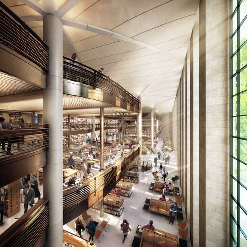 A new circulating library will be housed within the New York Public Library's main building on 42nd Street in Manhattan. Designed by Foster + Partners, the new 100,000-square-foot branch will replace
