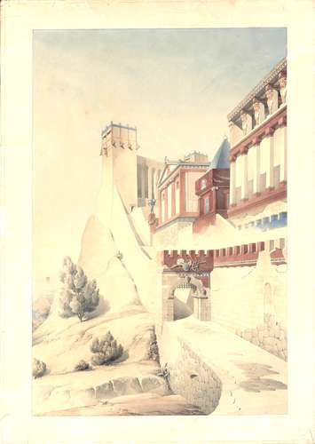 Henri Labrouste (French, 1801-1875). Imaginary reconstruction of an ancient city. Perspective view. Date unknown. Graphite, pen, ink and watercolor on paper.<br />