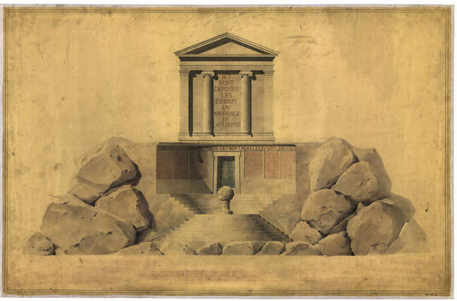 Henri Labrouste (French, 1801-1875). Project for a cenotaph in memory of La P&#233;rouse. Main elevation. 1829. Pen, ink and wash on paper mounted on canvas. <span style='color: #242424; font-family: