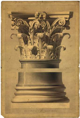 Henri Labrouste (French, 1801-1875). The Pantheon, Rome. Capital and base of a column of the portico. 1825-1830. Pen, ink, graphite and watercolor on paper. <span style='color: #000000; font-family: V