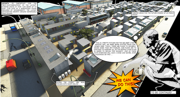 The exhibtion has a comic component depicting a re-settlement proposal for 11 sites in Marlboro South. The comic was produced by third year University of Johannesburg architecture student Jaco Jonker