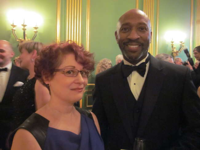 AAF development director Janice Marks with Turner Construction's Darien Grant.