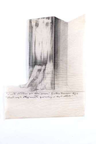 <em>Subterranean Rooms, Part 1:</em><em> Habitat for Two People</em>, 1971, pencil on tracing paper