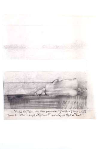 <em>Subterranean Rooms, Part 1</em><em>: Habitat for Two People</em>, 1971, pencil on tracing paper