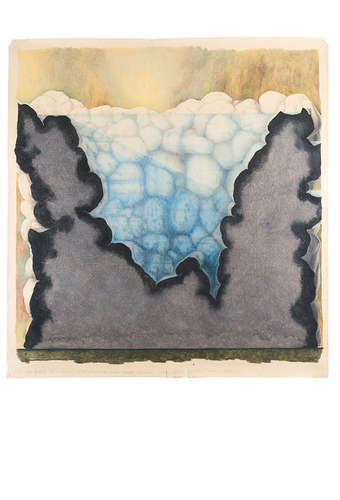 <em>Subterranean Rooms, Part 2: Project of a Church for Isolation (Church of Solitude) the Basin of Water</em>, 1974, Colored pencil on paper