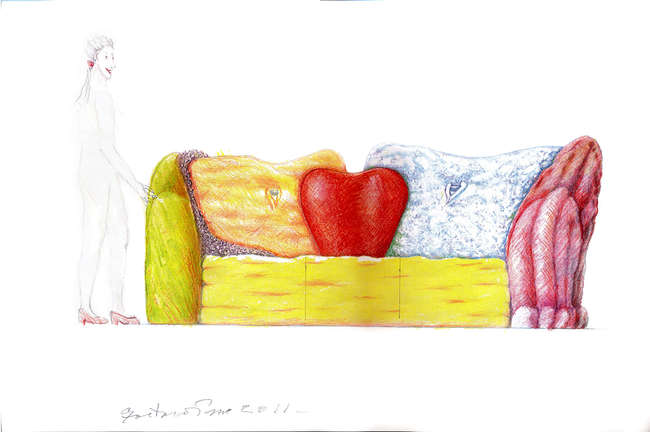 <em>Insieme Sofa</em>, 2011, Color crayon on paper