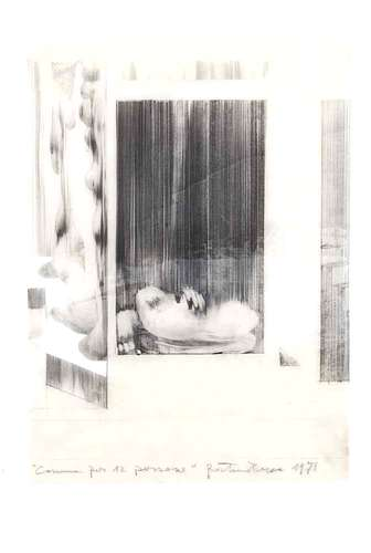 <em>Subterranean Rooms, Part 1</em><em>: Commune for Twelve People</em>, 1971, pencil on tracing paper