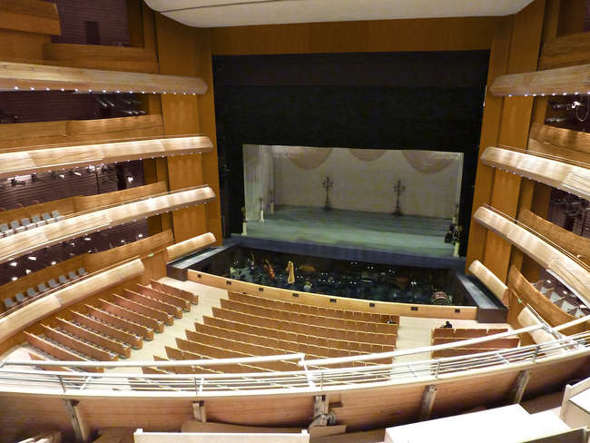 The Mariinsky II performance hall near completion. The ample use of beech wood in the auditorium enhances the acoustics and the classic horseshoe shape was used to provide good views from every seat.