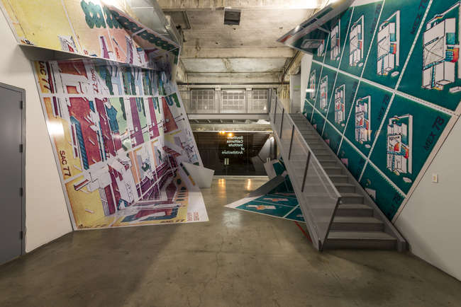 Zago Architecture, the exhibition designers, wrapped the entry zone in skewed, blown-up reproductions of Morphosis' mock postage stamps &#8211; a clever riff on <em>Graphic Wrap</em>, one of the six s