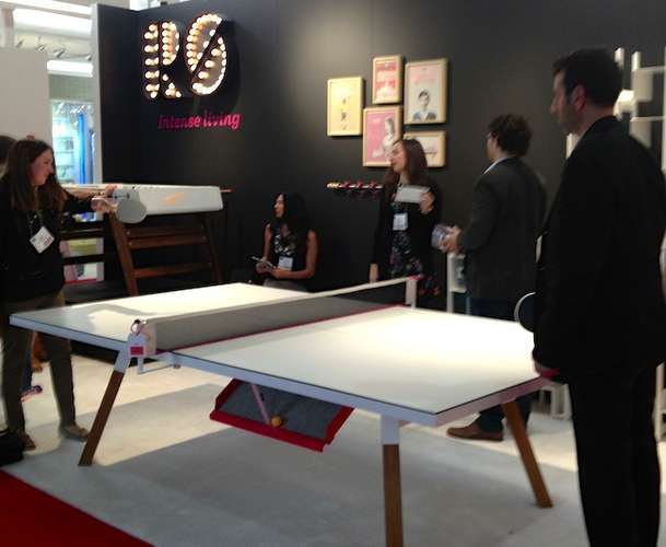 <strong>At ICFF</strong><br /> Visitors play with the &#8220;YOUandME Ping Pong Table&#8221; at the RS Barcelona booth.
