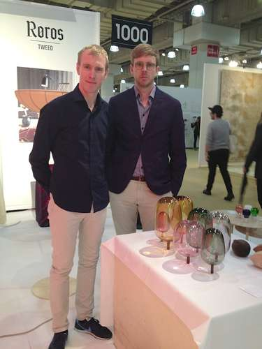 <strong>At ICFF</strong><br /> &#216;ystein Austad and Jonas Ravlo Stokke of StokkeAustad with their &#8220;The Woods: Autumn&#8221; glass sculpture, part of the exhibition, <em>The Essence of Things: