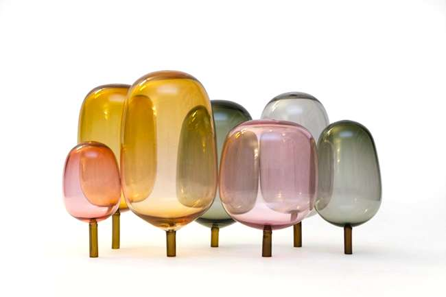 <strong>At ICFF</strong><br /> Close up of StokkeAustad&#8217;s &#8220;The Woods: Autumn&#8221; glass sculpture.