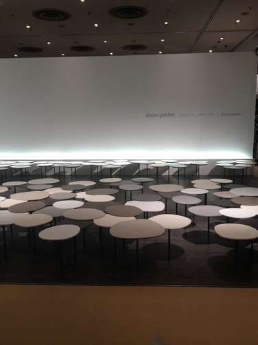 <strong>At ICFF</strong><br /> Nendo created a the 'Stone Garden' display of tables for Caesarstone's booth.