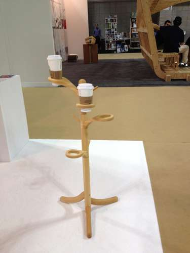 <strong>At ICFF</strong><br /> A coat hanger for coffee! We want these for our desks at work. Designed by students at the Institute of Design at the University of Tokyo, manufactured by Fukushima.