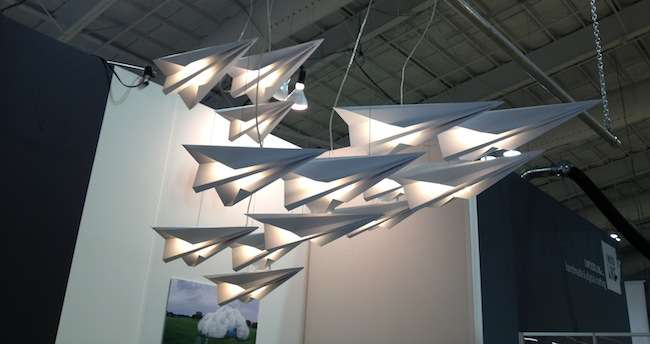<strong>At ICFF</strong><br /> We love the ethereal quality of these illuminated paper airplanes. Light  installation by STUDIOKCA.