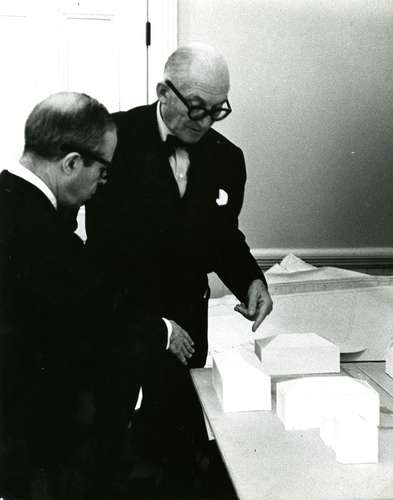 Sert (left in photo), who had worked for Le Corbusier (to his right) before becoming the head of Harvard's GSD, helped his mentor get the Carpenter job.