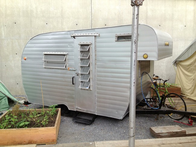 One of the vintage-looking trailers in the Colony, a temporary communal dwelling at MoMA PS1 designed by a77.