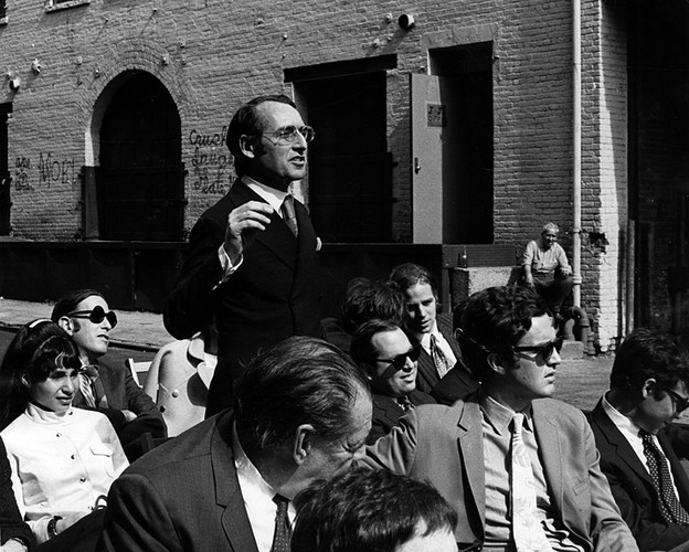 Meier (standing) at Westbeth, a nonprofit affordable housing complex for artists in New York's West Village, in 1970. Also shown in photo: Barbara Littenberg; Gerry Gurland (in front of Meier); and To