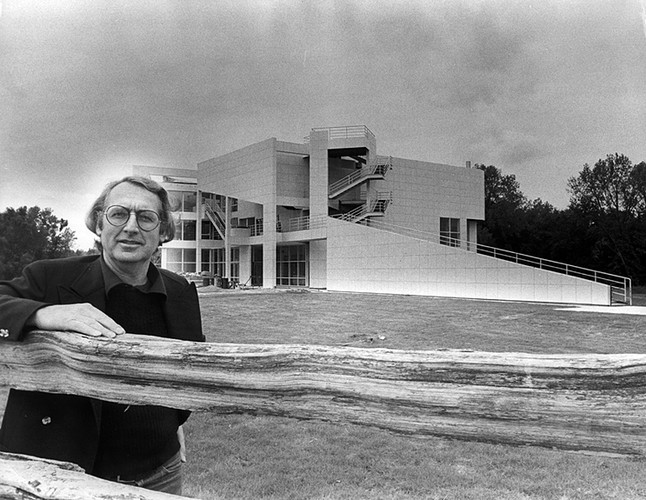 Meier in 1979 at the Atheneum, New Harmony, Indiana's visitor center.